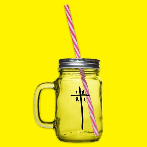 Cross - INRI (Jesus of Nazareth King of Jews) - Glass jar with handle and screw cap