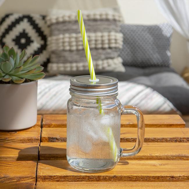 Vorschau: mei lebm - Henkelglas mit Schraubdeckel