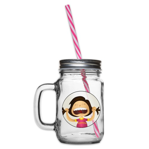 Amy's motto (image only) - Glass jar with handle and screw cap