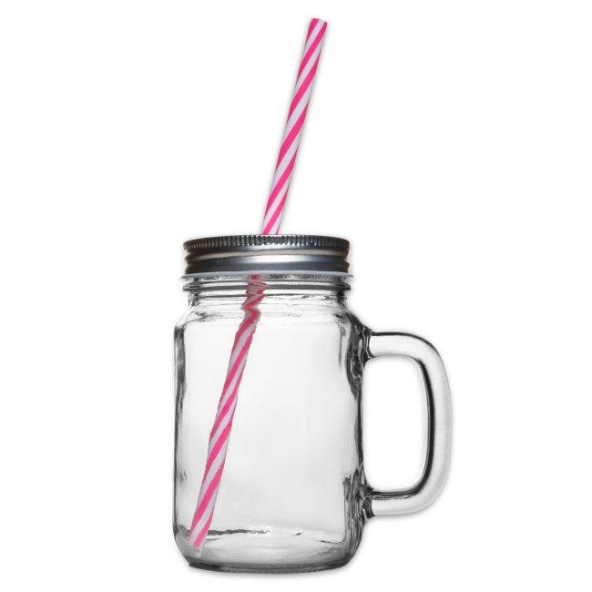 Vorschau: I bin gegen ois - Henkelglas mit Schraubdeckel