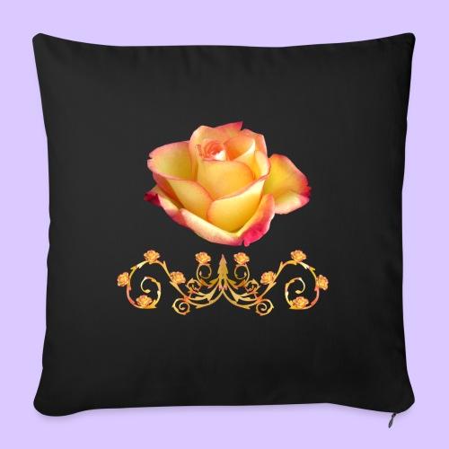 orange Rose, Ornament, Rosen, Blumen, Blüten, edel - Sofakissen mit Füllung 44 x 44 cm