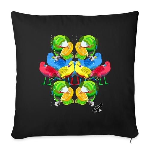 Birds Exotique by BlackenedMoonArts, with logo - Sofapude med fyld 44 x 44 cm