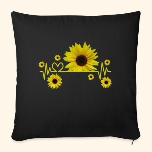 Sonnenblumen, Sonnenblume, Herzschlag, Herz, Blume - Sofakissen mit Füllung 44 x 44 cm