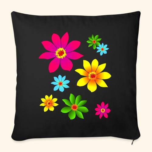 bunte Blumen, farbenfroh, blühend, Blüten, blumig - Sofakissen mit Füllung 44 x 44 cm