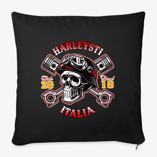 Harleysti Italia - Teschio e pistoni - Ride Hard - Cuscino da divano 44 x 44 cm con riempimento