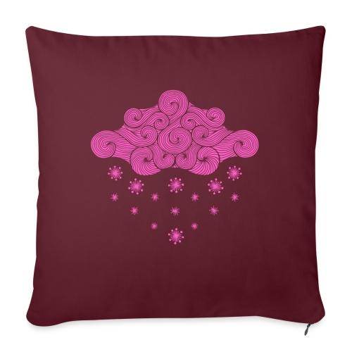 nuage rose et flocons vacances d'hiver - Coussin et housse de 45 x 45 cm