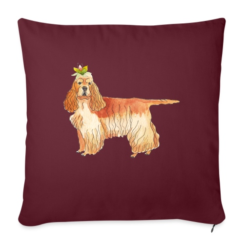American cocker spaniel with flower - Sofapude med fyld 44 x 44 cm