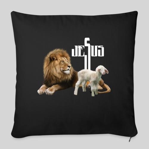 Jesus der Löwe und das Lamm - Sofakissen mit Füllung 44 x 44 cm