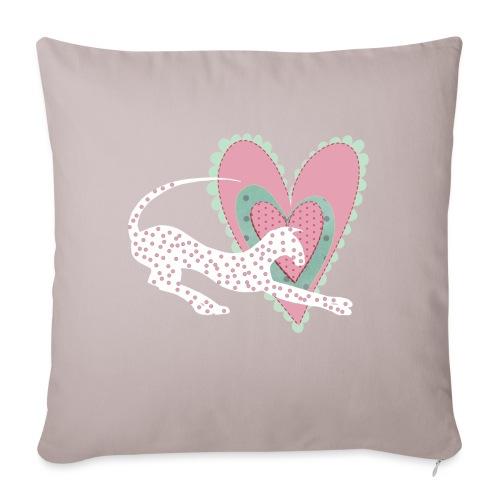 Vit katt rosa hjärta prickar - Soffkudde med stoppning 44 x 44 cm