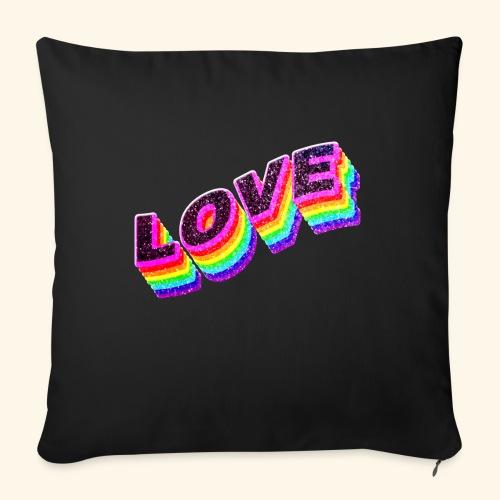 Typo Love Arc en Ciel LGBT - Coussin et housse de 45 x 45 cm