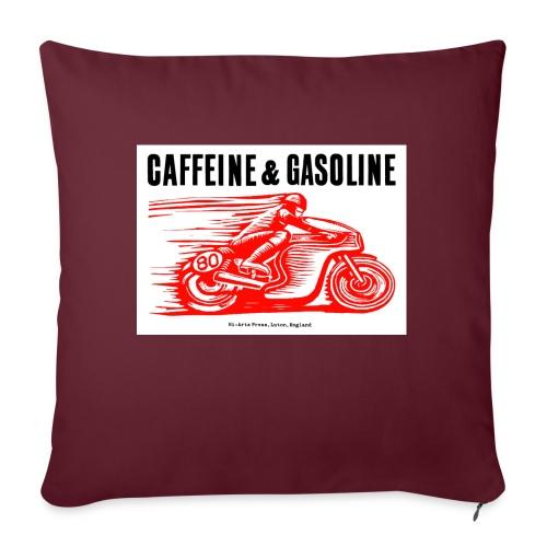 Caffeine & Gasoline black text - Sofa pillow with filling 45cm x 45cm