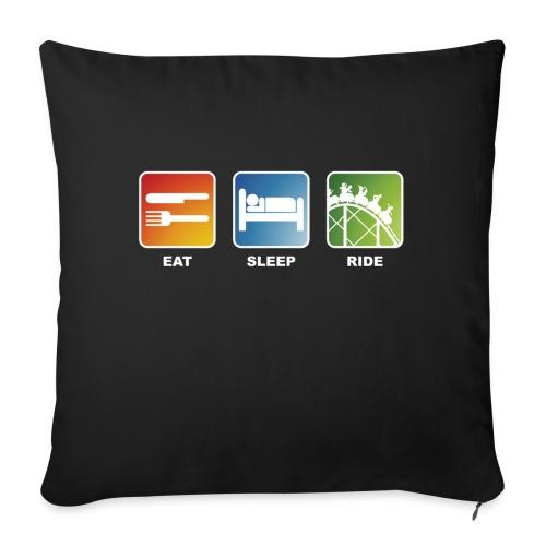 Eat, Sleep, Ride! - T-Shirt Schwarz - Sofakissen mit Füllung 44 x 44 cm