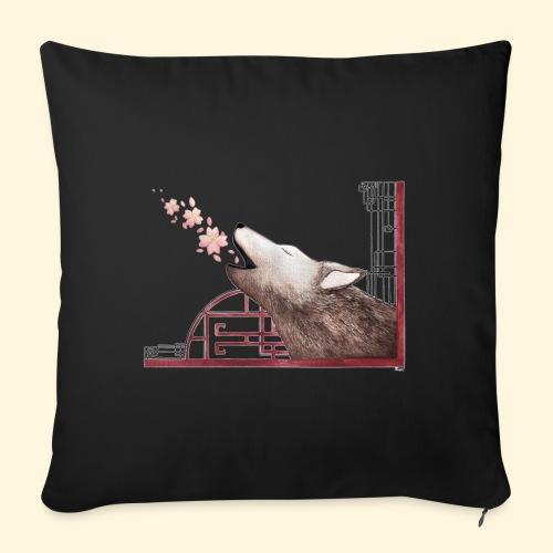 Le chant du loup aux fleurs de cerisier - Coussin et housse de 45 x 45 cm