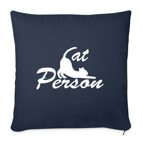 cat person - weiss auf schwarz - Sofakissen mit Füllung 44 x 44 cm