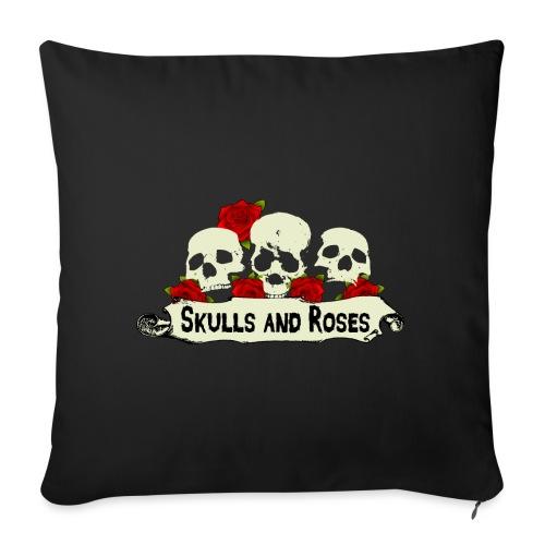 Skulls and Roses Schädel mit Rosen - Sofakissen mit Füllung 44 x 44 cm