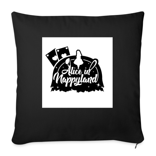 Alice in Nappyland TypographyWhite with background - Sofa pillow with filling 45cm x 45cm