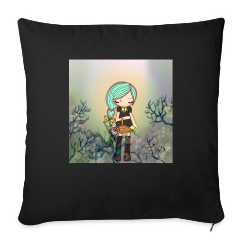 Little forest girl blue hair - Sofa pillow with filling 45cm x 45cm