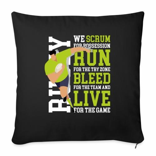 MarPlo Scrum Run Live whiteGreen - Cuscino da divano 44 x 44 cm con riempimento
