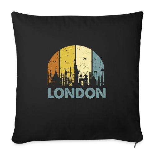 Vintage London Souvenir - Retro Skyline London - Sofakissen mit Füllung 44 x 44 cm