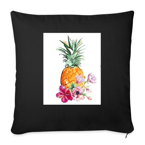 Ananas con fiori - Cuscino da divano 44 x 44 cm con riempimento