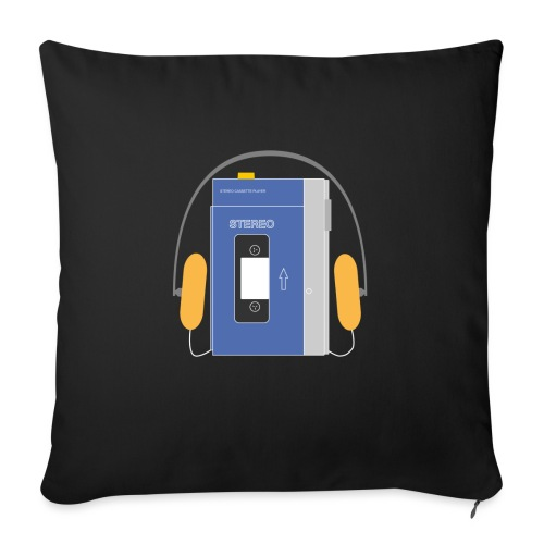 Stereo walkman in blue - Sofa pillow with filling 45cm x 45cm