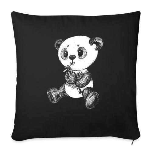 Panda bjørn hvid scribblesirii - Sofapude med fyld 44 x 44 cm