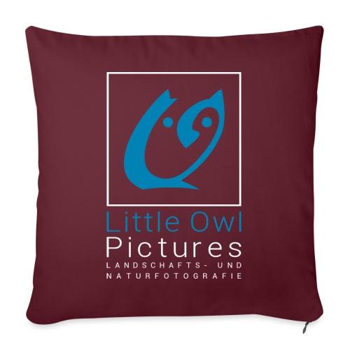 Little Owl Pictures Logo (weiß/blau) - Sofakissen mit Füllung 44 x 44 cm
