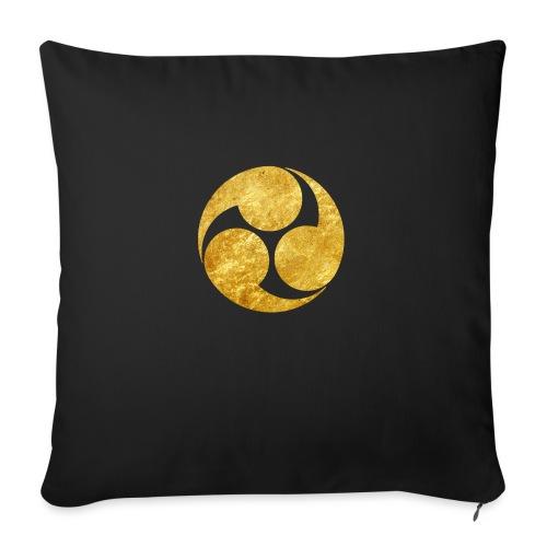 Kobayakawa Mon Japanese clan gold on black - Sofa pillow with filling 45cm x 45cm