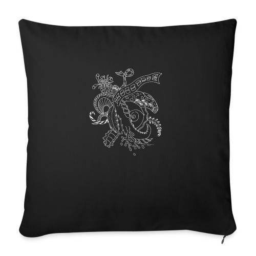 Fantasy white scribblesirii - Sofa pillow with filling 45cm x 45cm