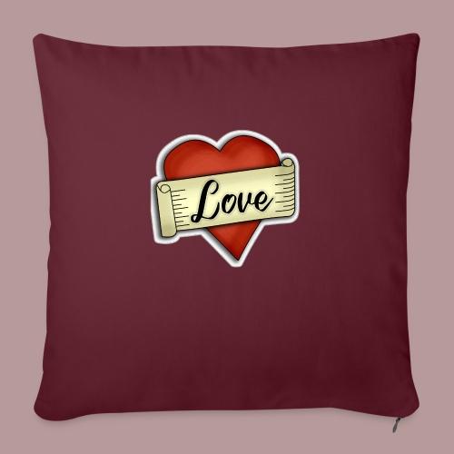 Love cœur tatouage - Coussin et housse de 45 x 45 cm