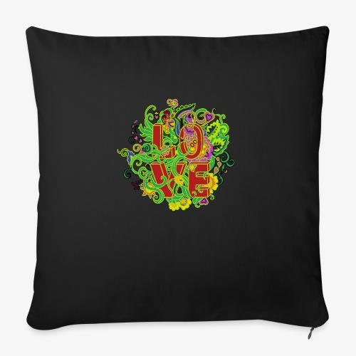 Kwiatowe love - Poduszka na kanapę z wkładem 44 x 44 cm