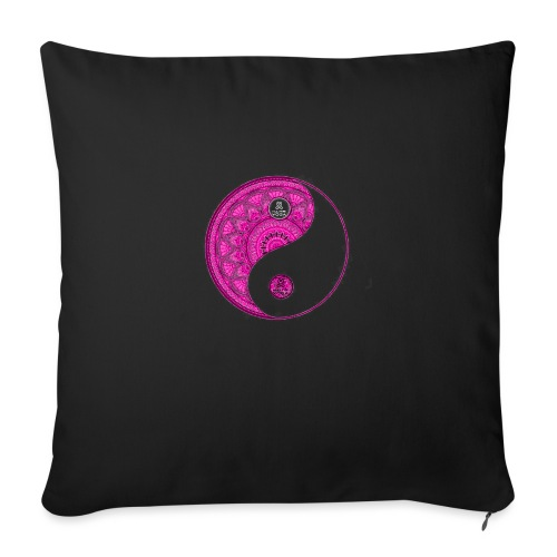 Mandala YinYang Pink MaitriYoga - Coussin et housse de 45 x 45 cm