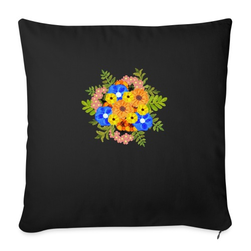 Blue Flower Arragement - Sofa pillow with filling 45cm x 45cm