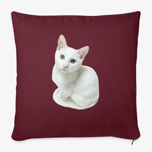 Weiße Katze - Sofakissen mit Füllung 44 x 44 cm