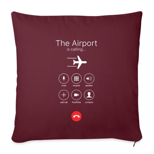 Lotnisko dzwoni - białe - Poduszka na kanapę z wkładem 44 x 44 cm