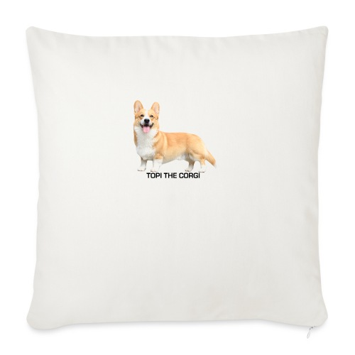 Topi the Corgi - Black text - Sofa pillow with filling 45cm x 45cm