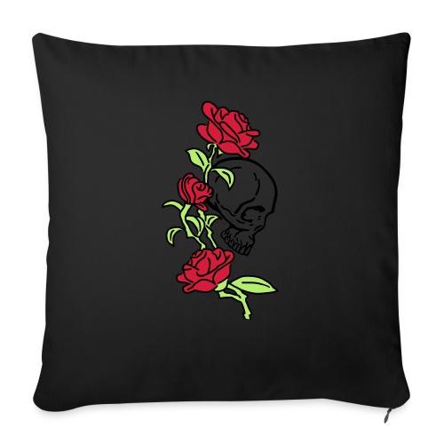 teschio e rose es123_2 - Cuscino da divano 44 x 44 cm con riempimento