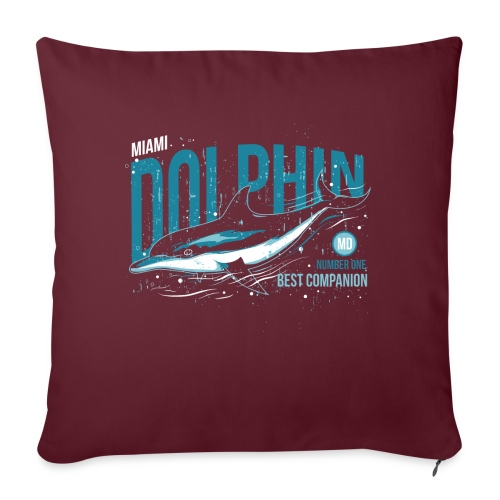 Miami Dolphin - Coussin et housse de 45 x 45 cm