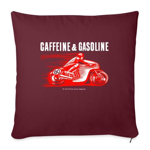 Caffeine & Gasoline white text - Sofa pillow with filling 45cm x 45cm