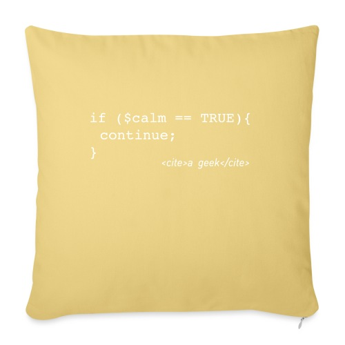 Coder's Keep Calm (with white text) - Sofa pillow with filling 45cm x 45cm