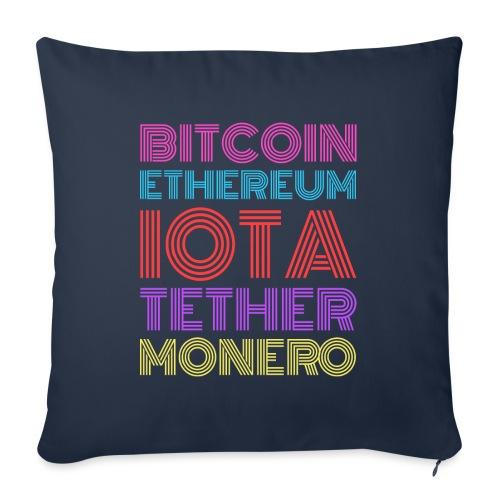 Retro Crypto | Bitcoin, Ethereum, IOTA, Tether - Sofakissen mit Füllung 44 x 44 cm