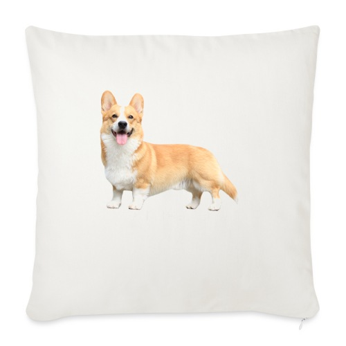 Topi the Corgi - White text - Sofa pillow with filling 45cm x 45cm