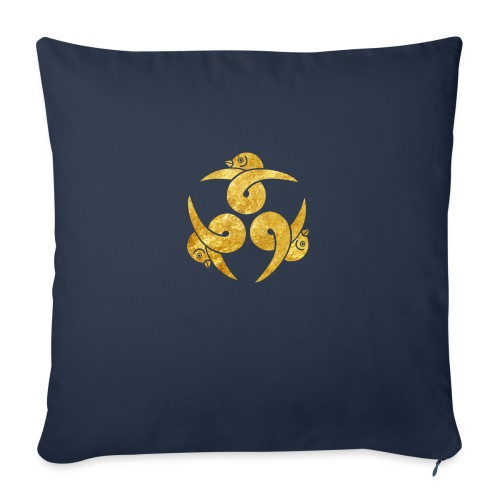 Three Geese Japanese Kamon in gold - Sofa pillow with filling 45cm x 45cm