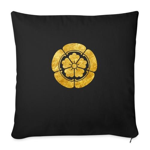 Oda Mon Japanese samurai clan faux gold on black - Sofa pillow with filling 45cm x 45cm