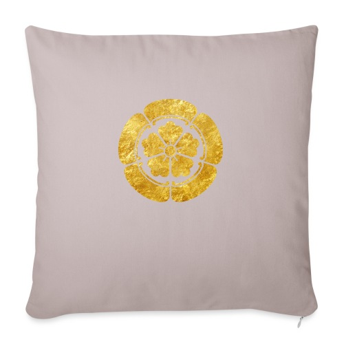 Oda Mon Japanese samurai clan faux gold on black - Sofa pillow with filling 45cm x 45cm
