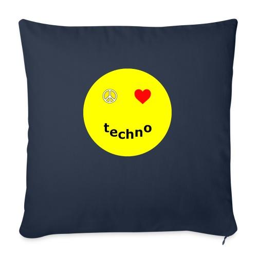 camiseta paz amor techno - Cojín de sofá con relleno 44 x 44 cm