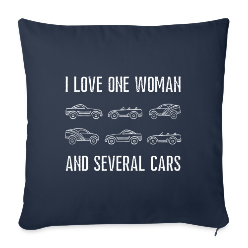 I love one woman and several cars - Sofapute med fylling 44 x 44 cm
