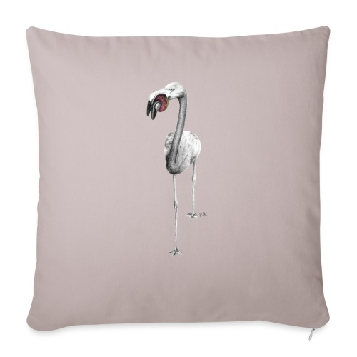 Flamingo Eating Donut - Sofa pillow with filling 45cm x 45cm