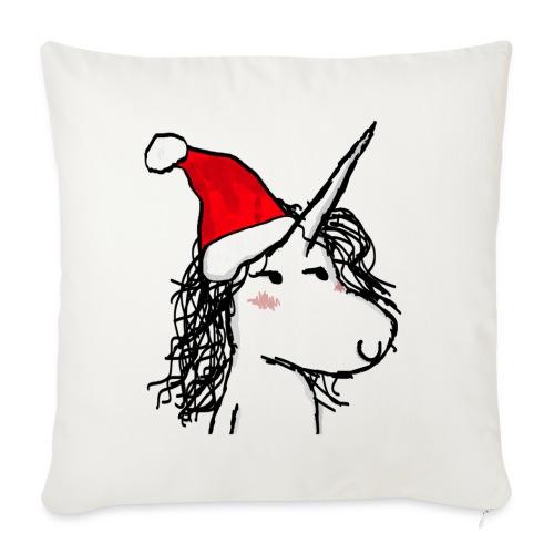 unicorno Natale - Cuscino da divano 44 x 44 cm con riempimento