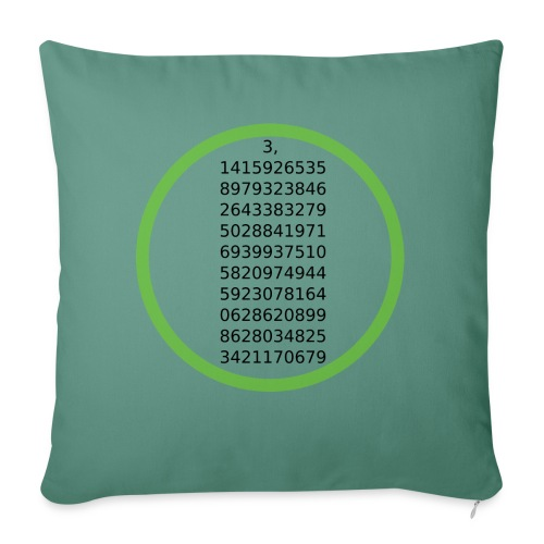 Number Pi Green Circle - Sohvatyynyt täytteellä 44 x 44 cm